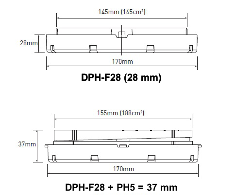 Nákres rektifikačního terče BUZON DPH-1 bez a se sklonovým korektorem PH5