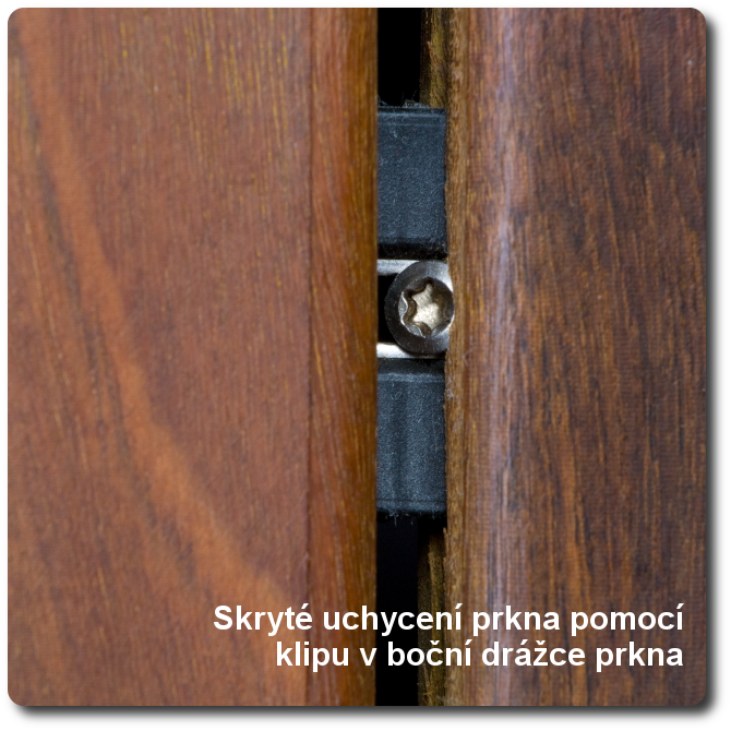 Skrytý spoj pomocí klipu v boční drážce prkna