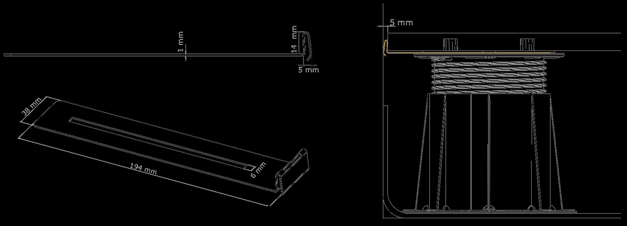 Nákres BUZON U-WALL lišta pro vytvoření mezery mezi dlažbou a stěnou