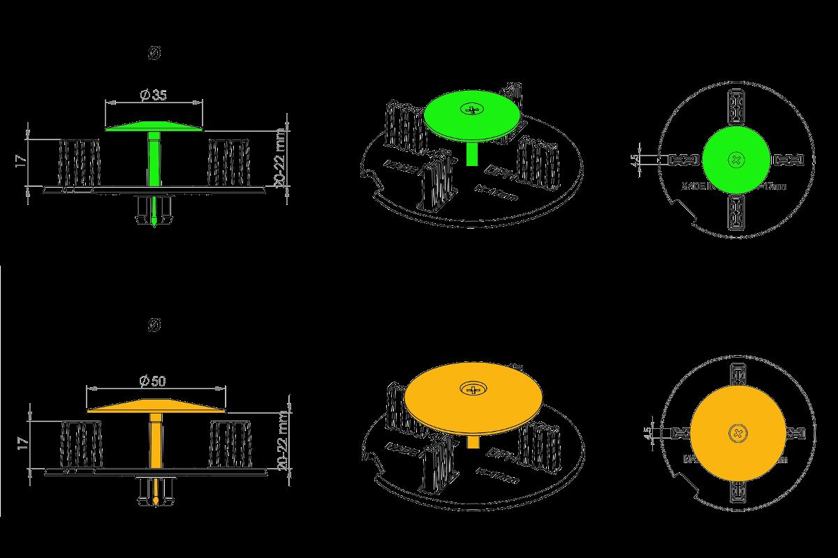 Nákres s technickou specifikací zajišťovací sady KIT-WR na mezerníku DPH-TABS-POM-WR