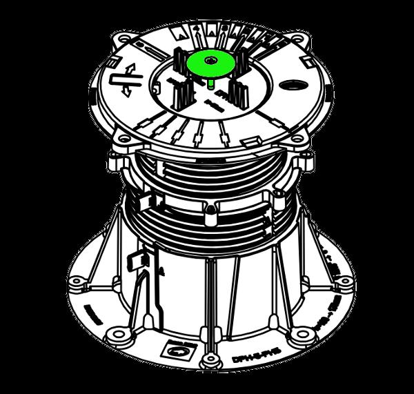 Zajišťovací destička DPH-KIT-ANTIWIND na rektifikačním terči BUZON DPH5-PH5 izometrický pohled