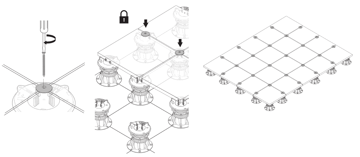 Postup zajištění dlažby pomocí destiček BUZON DPH-KIT-ANTIWIND: