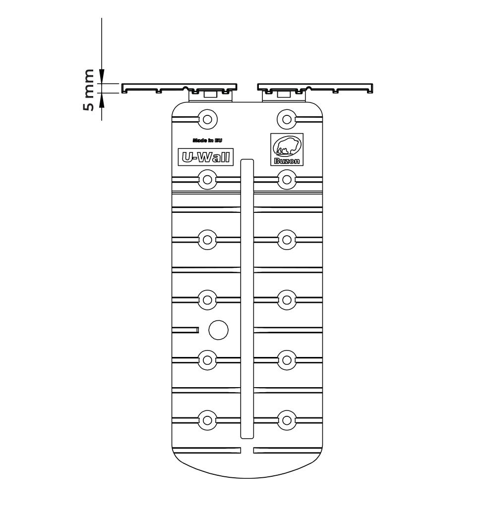 U-Wall lišta techický nákres pohled shora