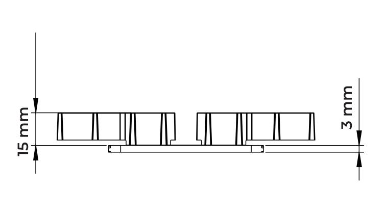 U-WALL polypropylenová lišta technický nákres čelní pohled