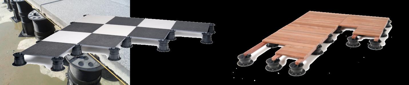 Použití rektifikačních terčů Buzon pod dlažbu i terasu