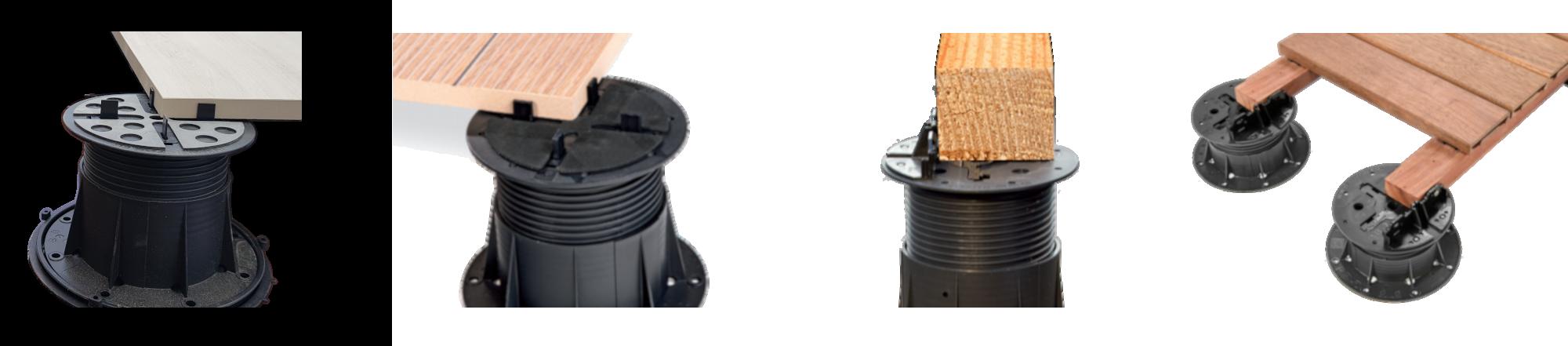 Detaily použití rektifikačních terčů Buzon pod dlažbu i terasu