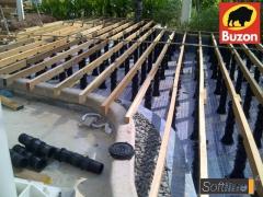 Montáž terasy na terče Buzon - pohled shora