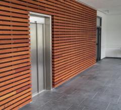 Dřevěné obložení stěny ve školní jídelně (Německo) - Techniclic s mezerníky vel. 20 mm
