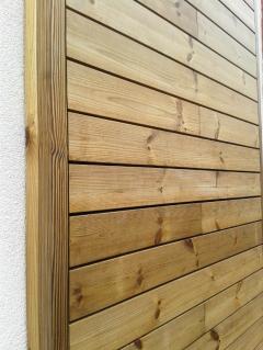 Dřevěná fasáda po rekonstrukci, použit systém Techniclic