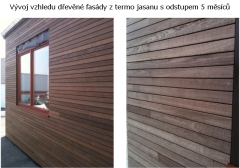 Dřevěný obklad fasády z thermojasanu s odstupem 5 měsíců