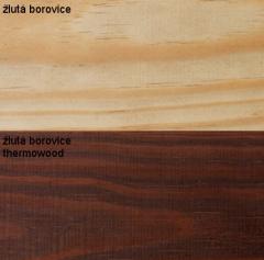 Srovnání žlutá borovice thermowood a bez úpravy