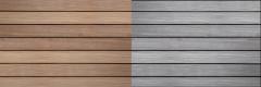 Vzhled terasových prken Jaya po instalaci a po čase bez ošetření nátěrem