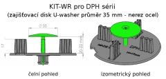 Nákres uchycení zajišťovacího disku Buzon U-Washer do mezerníku DPH série