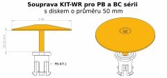 Nákres uchycení zajišťovacího disku Buzon U-Washer do kolíku PB-KIT-1