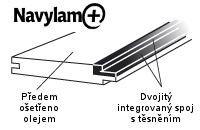 Dřevěná podlaha do koupelny Navylam+ - detail spoje