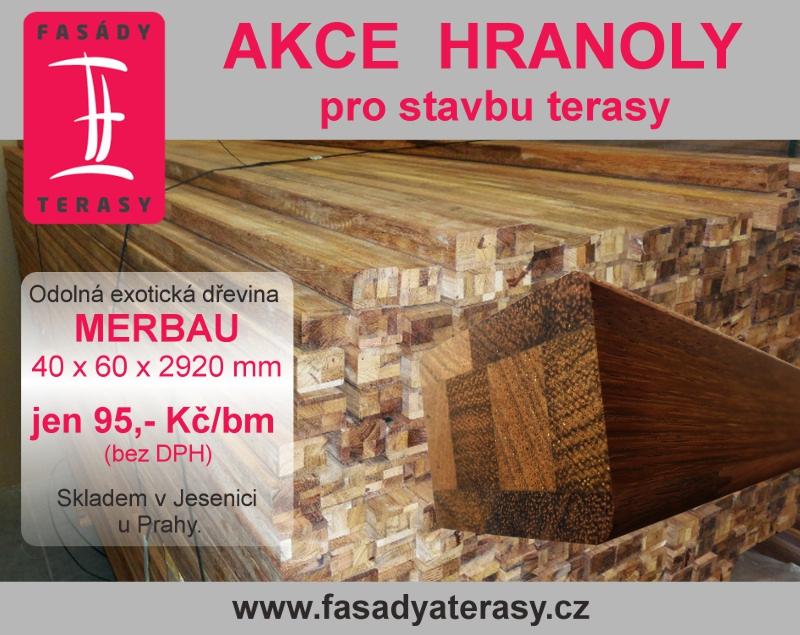 Akce - dřevěné hranoly merbau pro stavbu terasy