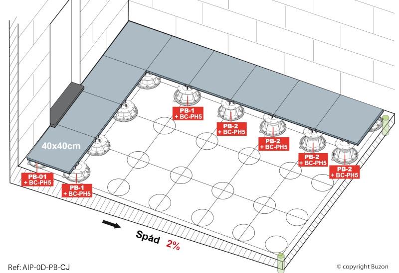 Nákres terasy s výpočtem terčů pod dlažbu