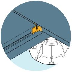 Ilustrace použití mezerníků U-BRS-TABS pro usazení dlažby