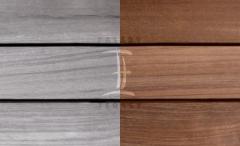 Terasová prkna dřevěná - Fasády & Terasy s.r.o. - Prkna Softline Teak po instalaci a po 6 měsících bez ošetření