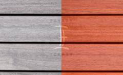 Terasová prkna dřevěná - Fasády & Terasy s.r.o. - Prkna Softline Padouk po instalaci a po 6 měsících bez ošetření