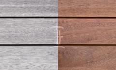 Terasová prkna dřevěná - Fasády & Terasy s.r.o. - Prkna Softline Merbau po instalaci a po 6 měsících bez ošetření