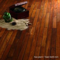 Dřevěná podlaha do koupelny Navylam+ Teak šíře 68 mm