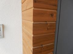 Dřevěná fasáda z thermoborovice na pero a drážku - detail rohu
